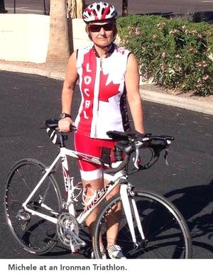 Michele at an Ironman Triathlon.