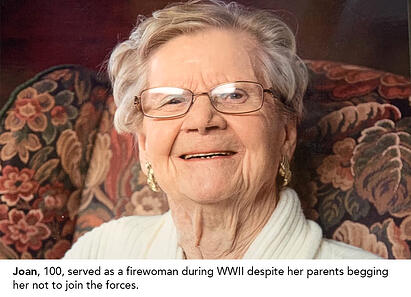 Joan, 100, served as a firewoman during WWII