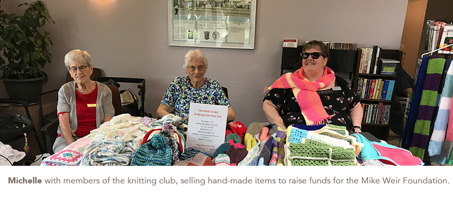 Michelle with members of the knitting club, selling hand-made items to raise funds for the Mike Weir Foundation.