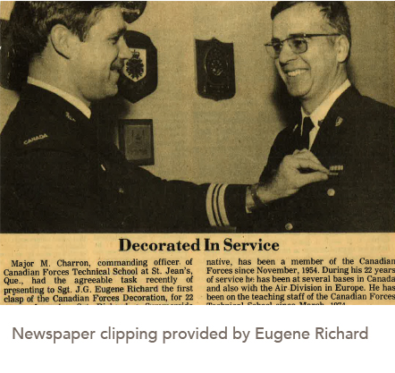 Newspaper clipping provided by Eugene Richard