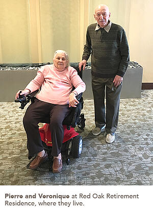 Photo of Pierre and Veronique at Red oak Retirement Residence, where they live