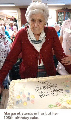 Margaret with her 108th birthday cake