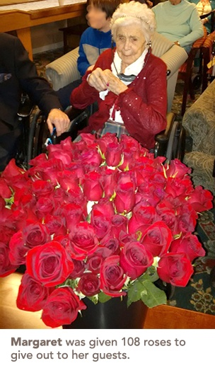 Margaret with her 108 roses
