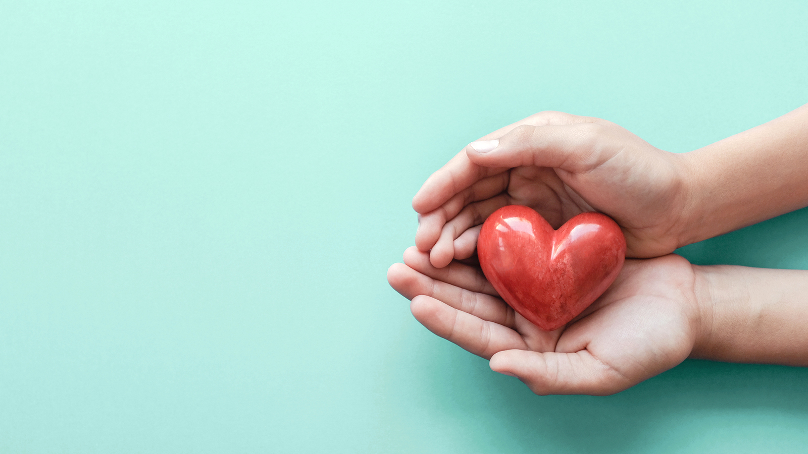 hands holding red heart on blue background,