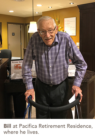 Picture of Bill at Pacifica Retirement Residence, where he lives.