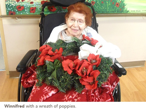 picture of Winnifred with a wreath of poppies