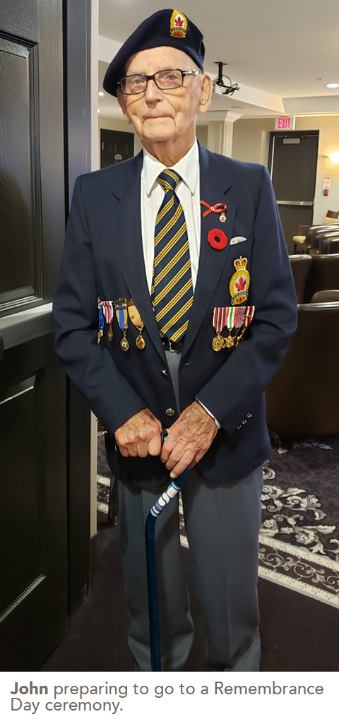 John preparing to go to a Remembrance Day ceremony.