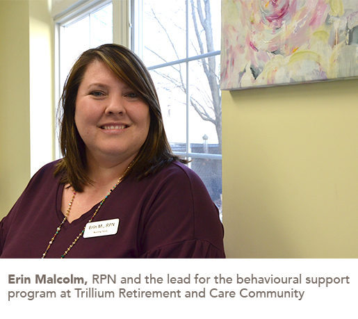 Erin Malcolm, RPN and the lead for the behavioural support program at Trillium Retirement and Care Community