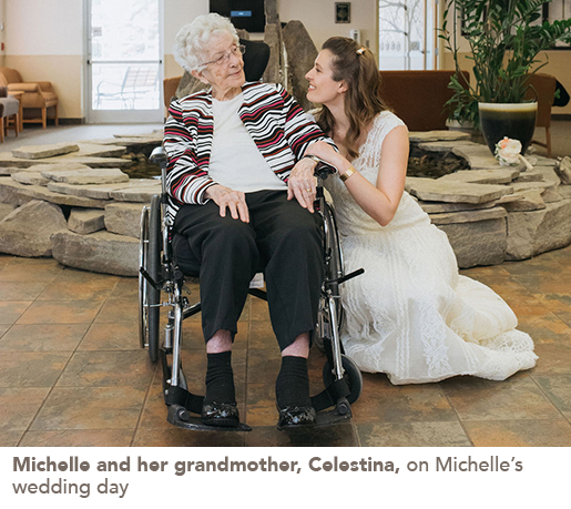 Michelle and her grandmother, Celestina, on Michelle's wedding day