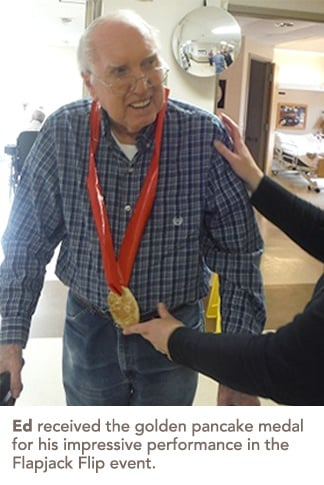Ed with his golden pancake medal