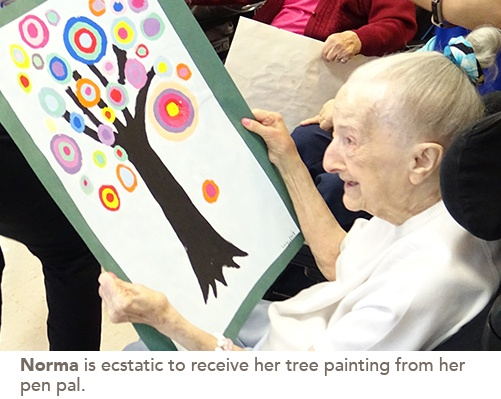 Norma, a resident received her tree painting