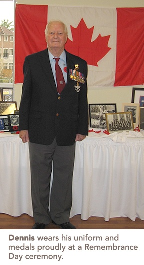 Photo of Dennis at a Remembrance Day ceremony