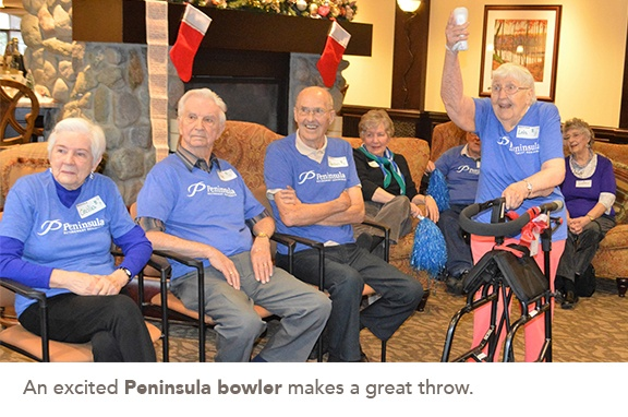 An excited Peninsula female bowler makes a great throw