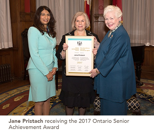picture of Jane Pristach receiving the 2017 Ontario Senior Achievement Award