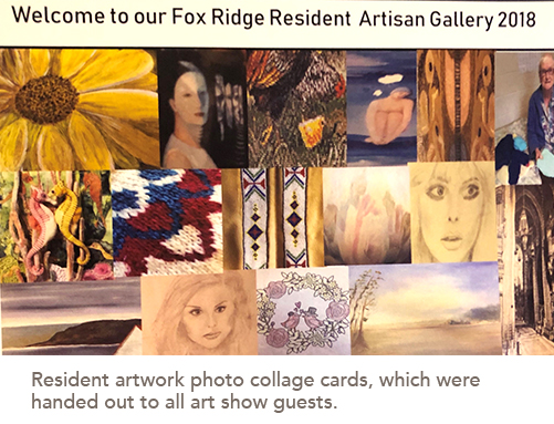 Resident artwork photo collage cards, which were handed out to all art show guests.