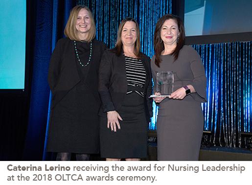 Caterina Lerino receiving the award for Nursing Leadership at the 2018 OLTCA awards ceremony.