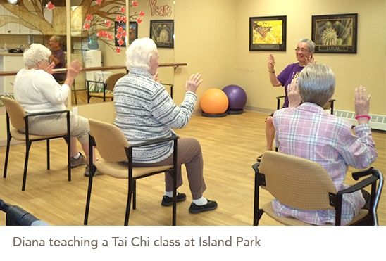 Picture of Diana teaching a Tai Chi class at Island Park