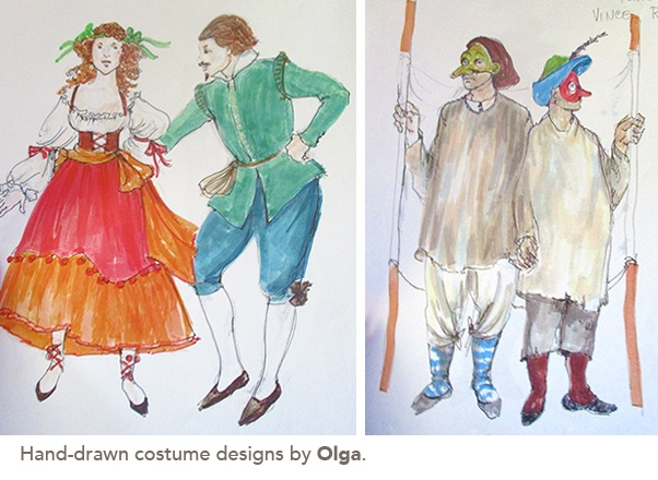 photo of Hand-drawn costume designs by Olga.