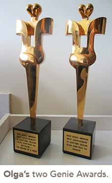 photo of Olga's two Genie Awards
