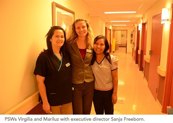 PSWs Virgilia and Mariluz with executive director Sanja Freeborn.