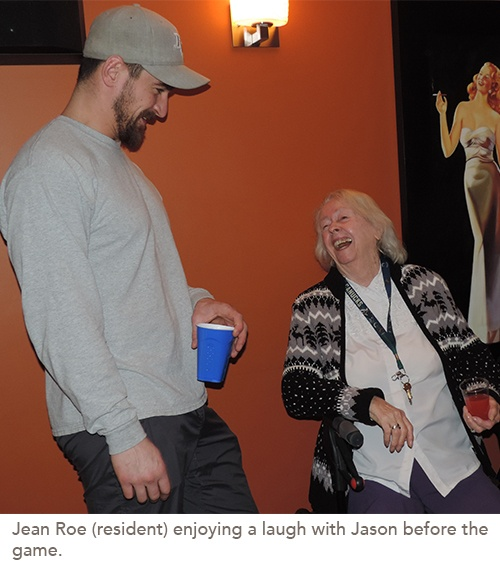 Residents Get a Surprise Treat at Super Bowl Party