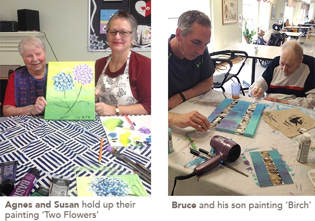 residents working on their paintings