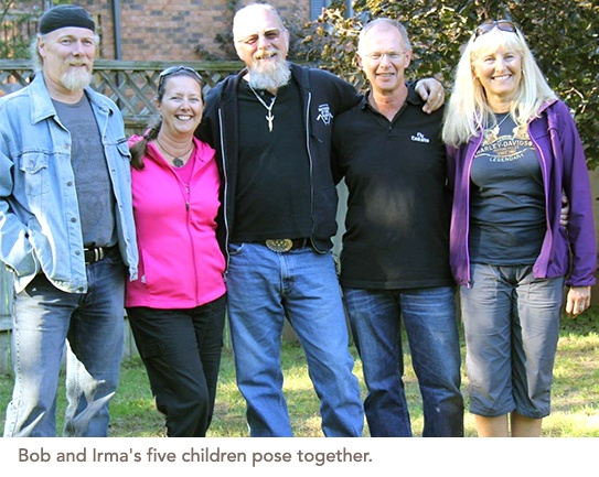 Group photo of Bob and Irma five children