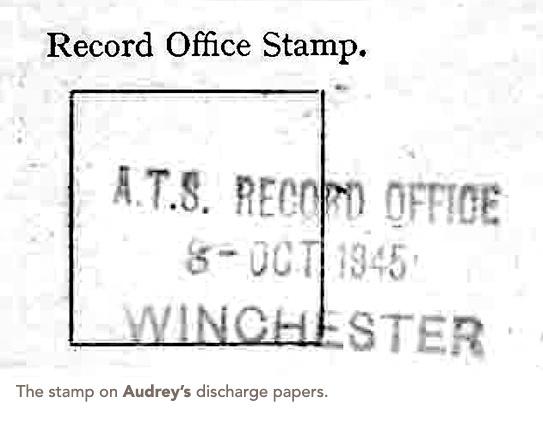 Audrey's discharge stamp