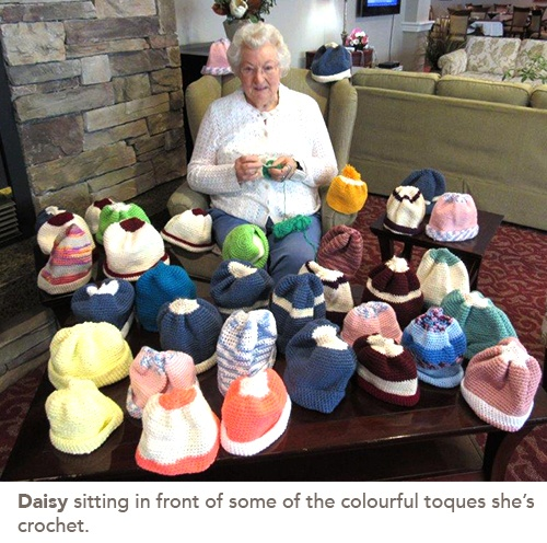 picture of Some of the beautiful toques Daisy has crochet